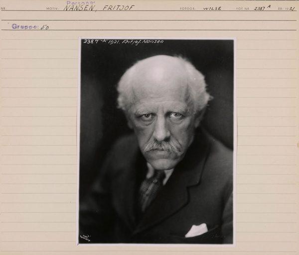 Anders Beer Wilse, portrett av Fridtjof Nansen, 1921. Tilhører Preus museums samling.