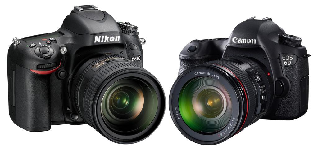 Nikon D610 og Canon EOS 6D er begge små og rimelige fullformatkameraer med imponerende bildekvalitet.