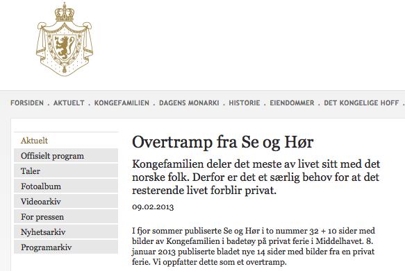 Slottet har gått til det uvanlige skritt å refse Se og Hør på sine egne hjemmesider.