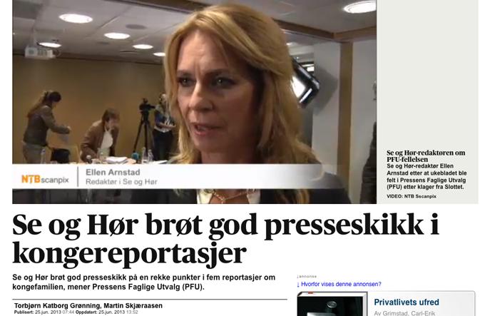 Se og Hørs redaktør Ellen Arnstad uttaler seg om dommen i PFU på Aftenposten.no (faksimile fra Aftenposten.no)