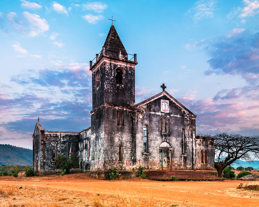 Roman Catholic Church burnt in 1984 during the civil war, Cobue, Mozambique, Africa.