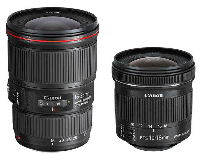 Canon EF 16-35mm f/4L IS USM og EF-S 10-18mm f/4.5-5.6 IS STM
