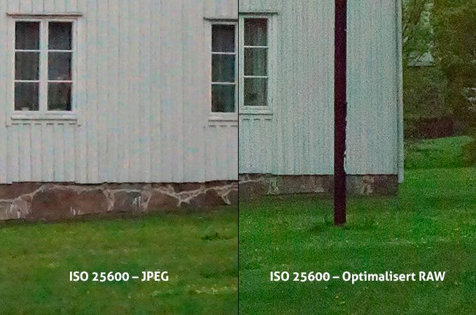 ISO 25600 direkte fra kamera (t.v.) og optimalisert fra RAW-fil på datamaskinen.