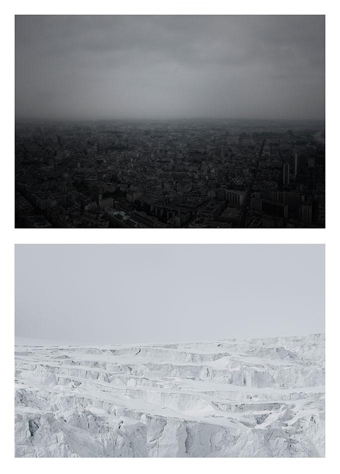 «Cityscape» (skisse). Utsyn over Paris kominert med en isbre på Svalbard. Foto: Morten M. Løberg