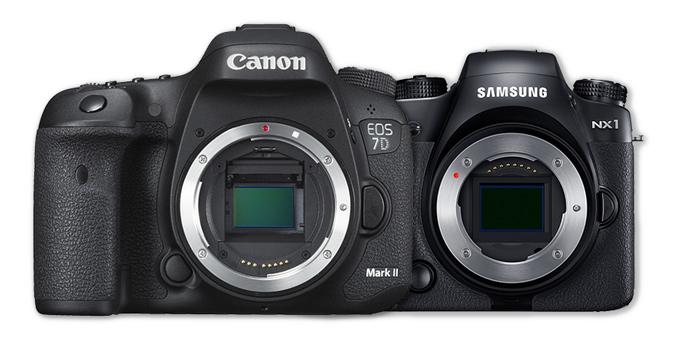 Canon EOS 7D Mk II og Samsung NX1 er under test.