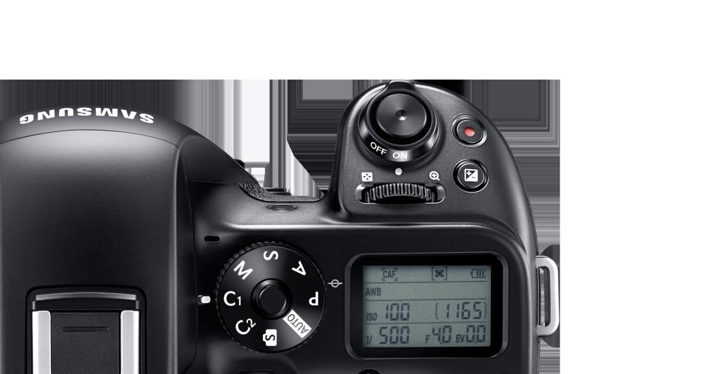 Samsung NX1 har display på toppen av kameraet.