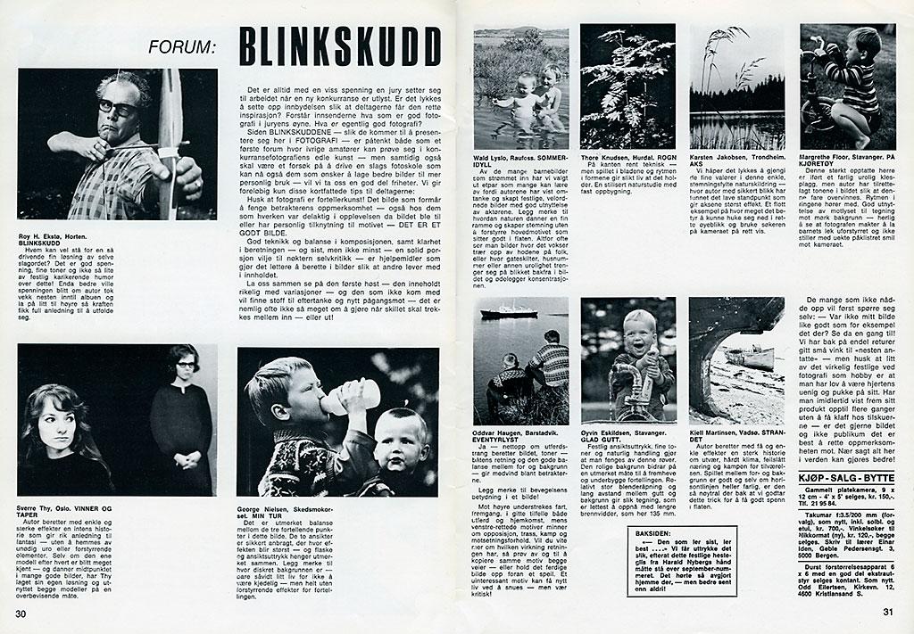 """Fotografis spalte """"Blinkskudd"""" fra 1968. Vinnerbildet var tatt av Roy H. Ekstø, Horten."""