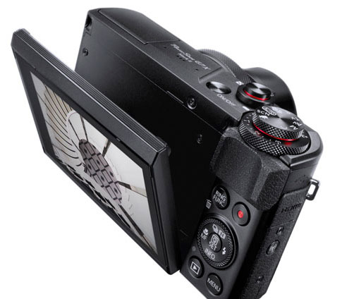 Skjermen på PowerShot G7 X Mark II er bunnhengslet.